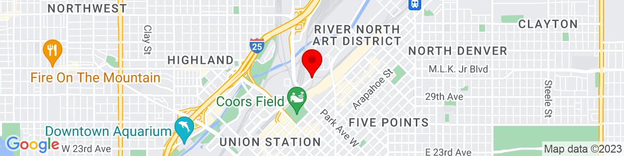 Google Map of 39.7607272, -104.9915699
