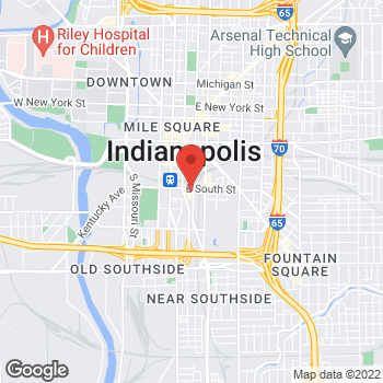 Map of Arby's at 45 E South St, Indianapolis, IN 46225