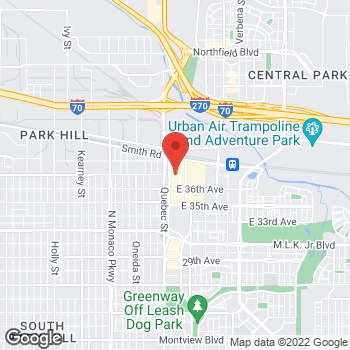 Map of Arby's at 3740 Quebec St, Denver, CO 80207-1600