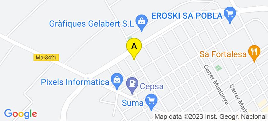 situacion en el mapa de . Direccion: carrer de la Credu, núm. 43-2º, 07420 Sa Pobla. Islas Baleares