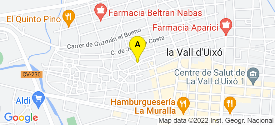 situacion en el mapa de . Direccion: Plaza Ismael Llopis, 5 bajo, 12600 La Vall d'Uixó. Castellón de la Plana