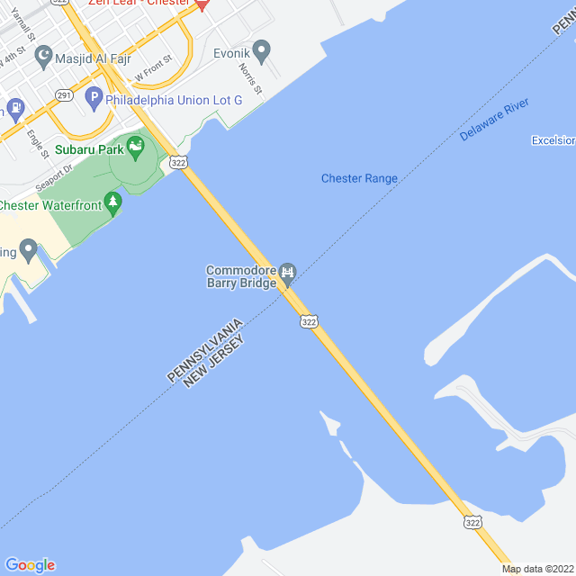 Map of Commodore Barry Bridge