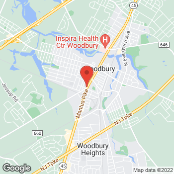 Map of Rite Aid at 343 S Broad Street, Woodbury, NJ 08096