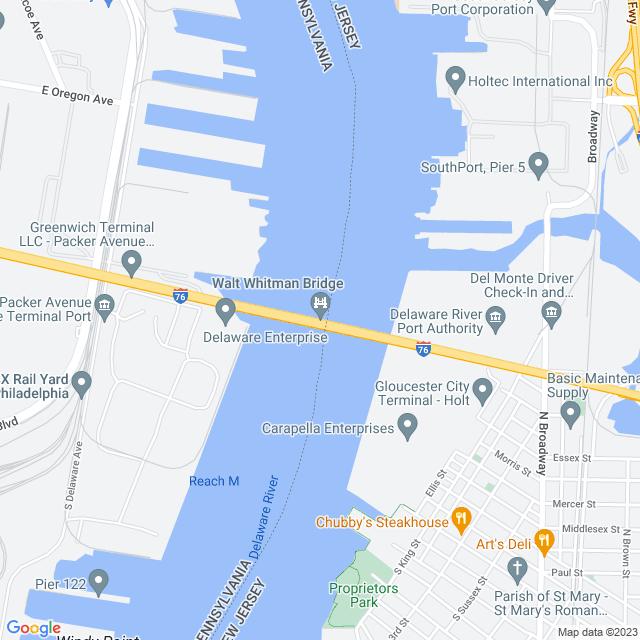 Map of Walt Whitman Bridge PA