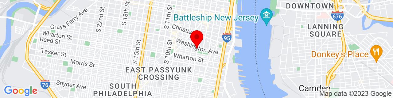 Google Map of 39.934396, -75.15261799999999