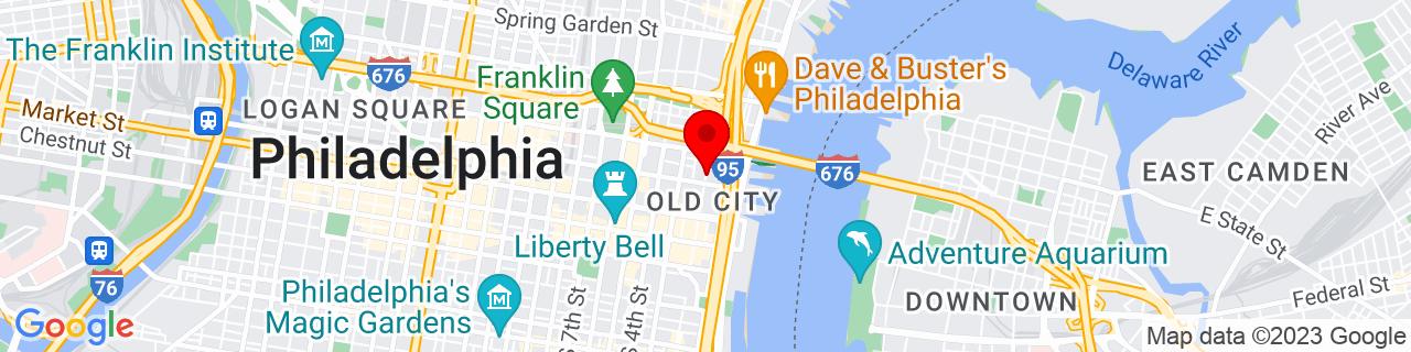Google Map of 39.9523672, -75.1431664