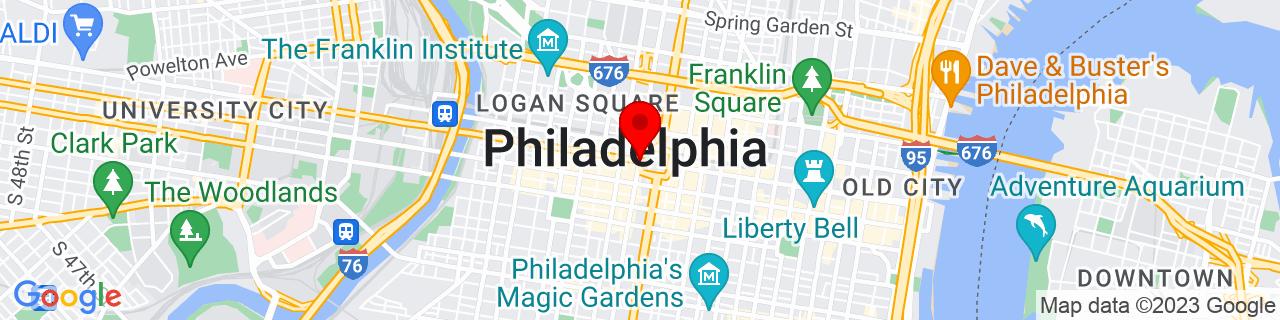 Google Map of 39.9525839, -75.16522150000003