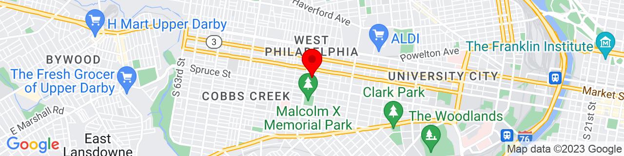 Google Map of 39.9556867, -75.22474160000002