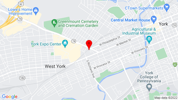 Google Map of 100 Carlisle Ave, York, PA 17401