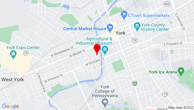 Google Map of 250 W. King St., York, PA 17401
