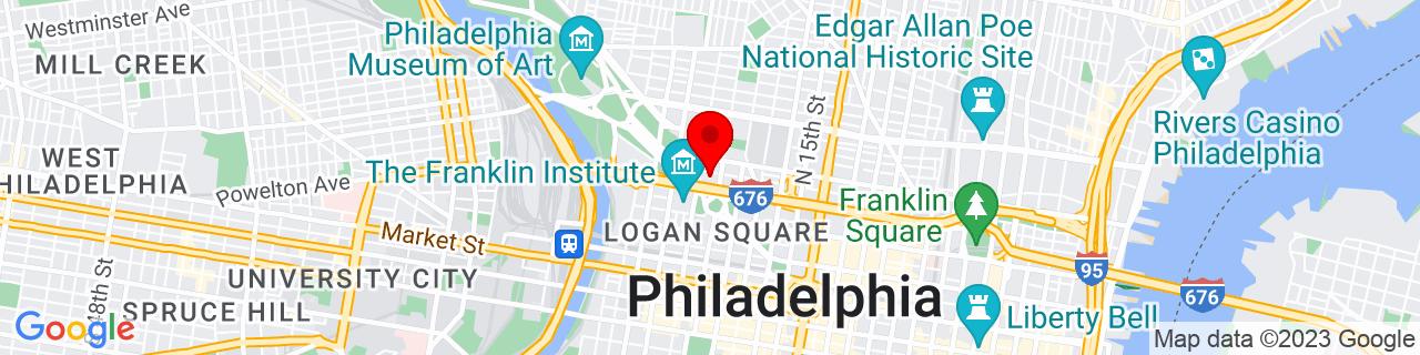 Google Map of 39.9596055, -75.17102360000001