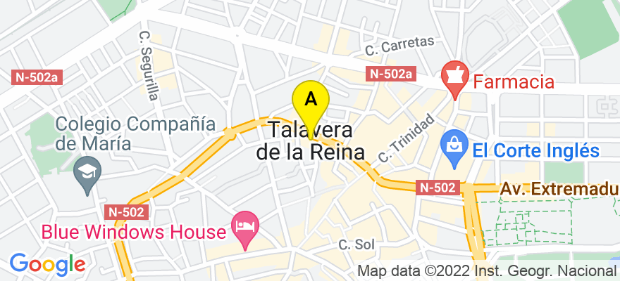 situacion en el mapa de . Direccion: San clemente 11 c local 2, 45600 Talavera de la Reina. Toledo