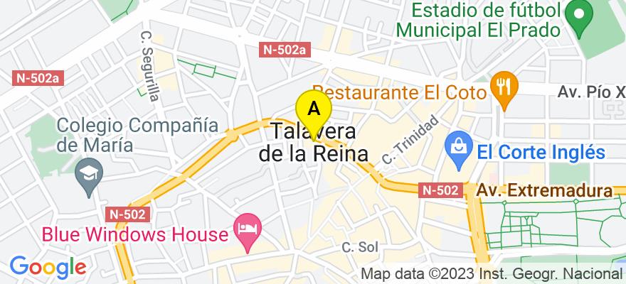 situacion en el mapa de . Direccion: plaza del reloj 12 2ºB, 45600 Talavera de la Reina. Toledo