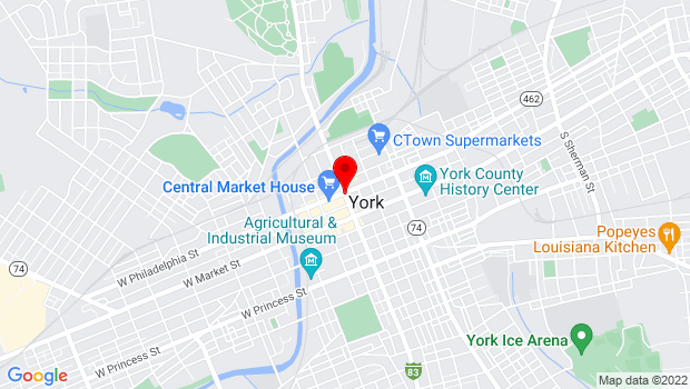 Google Map of 106 N George St, York, PA 17401
