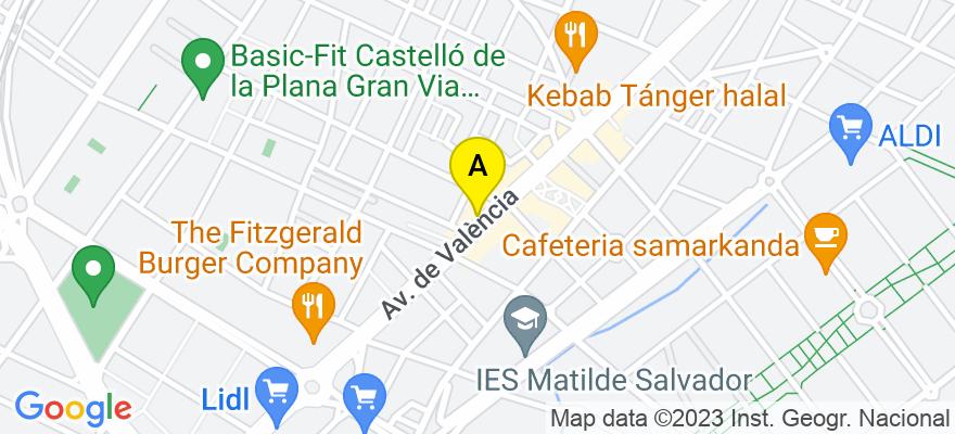 situacion en el mapa de . Direccion: AVENIDA DE VALENCIA 100 4D, 12006 Castellón de la Plana. Castellón de la Plana