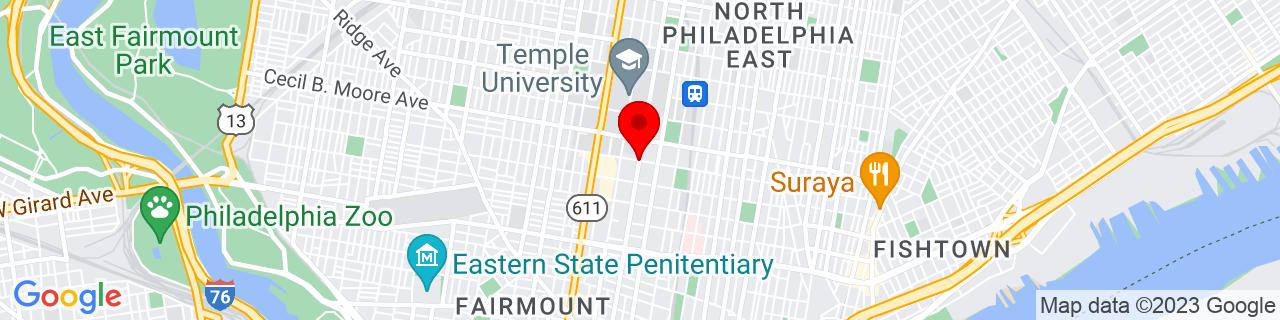 Google Map of 39.9768005, -75.1544503