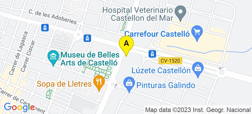 situacion en el mapa de . Direccion: Calle Ginjols 1, 12003 Castellón de la Plana. Castellón de la Plana