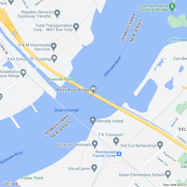 Map of Betsy Ross Bridge