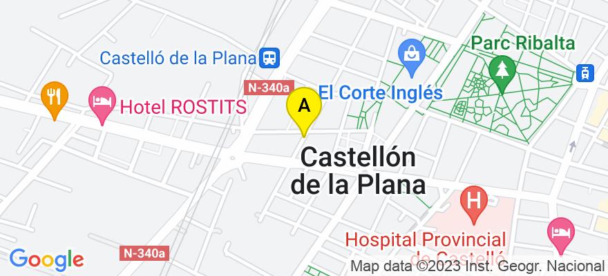 situacion en el mapa de . Direccion: Av. Rei en Jaume 23, entresuelo izq., 12001 Castellón de la Plana. Castellón de la Plana
