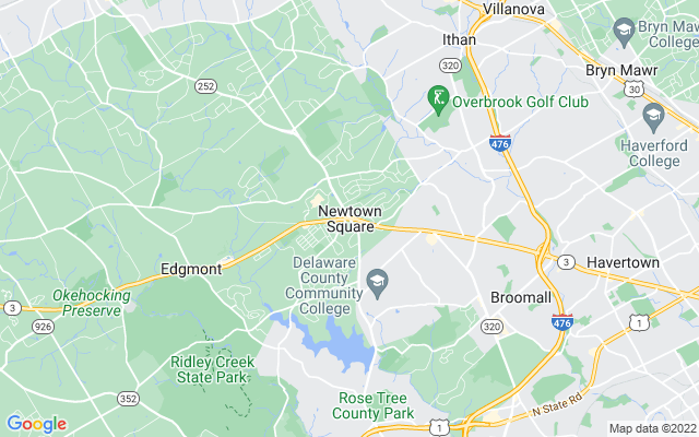Newtown square on the map