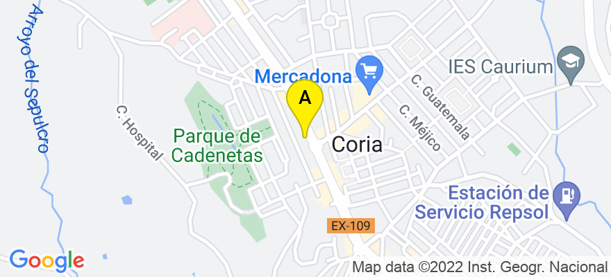 situacion en el mapa de . Direccion: Avda Virgen de Argeme, nº 3, 10800 Coria. Cáceres