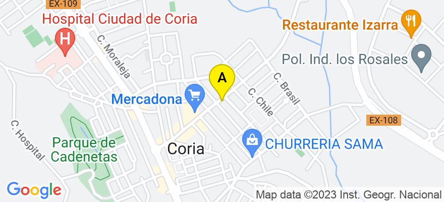 situacion en el mapa de . Direccion: Avda. Monseñor Riberi, 36 4º E, 10800 Coria. Cáceres