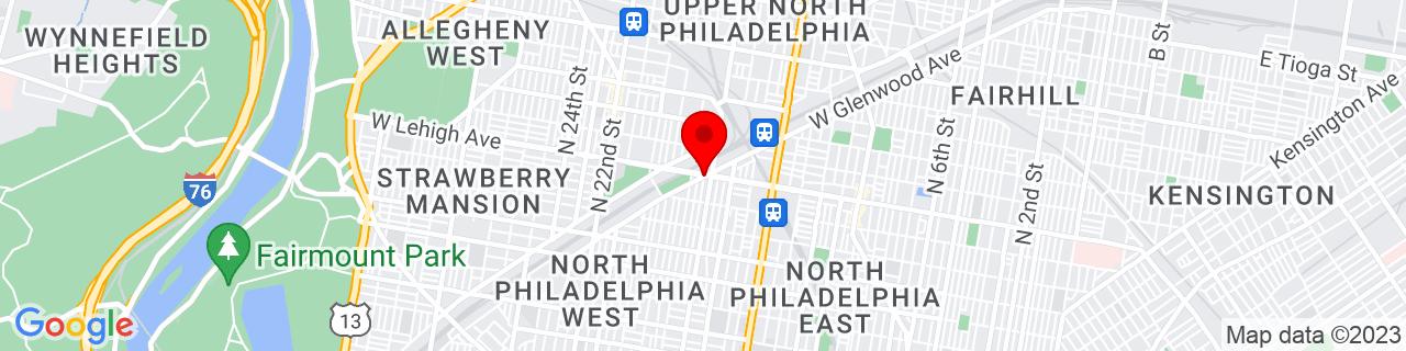Google Map of 39.99456, -75.15998619999999