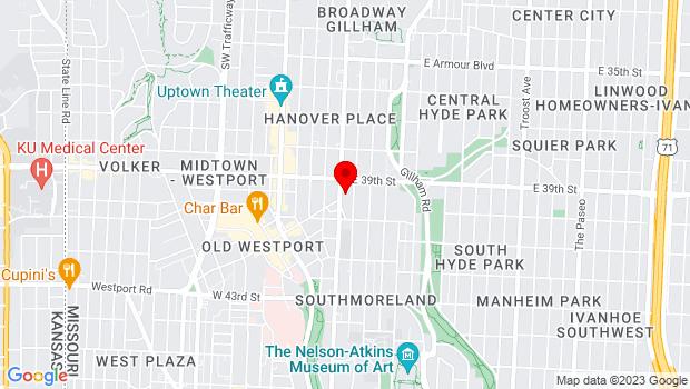 Google Map of 3927 Main St, Kansas City, MO 64111
