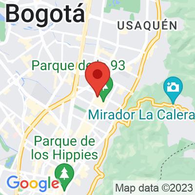 Map showing Azahar Café (Parque 93)