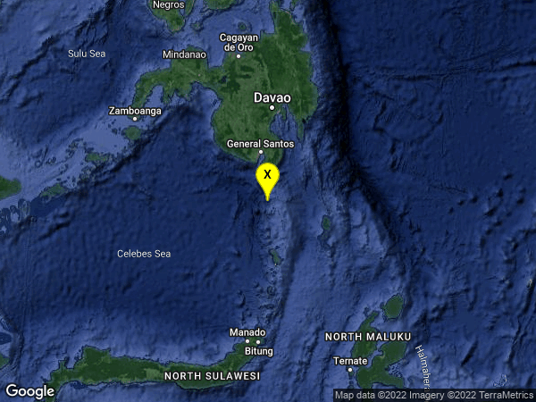 earthquake 56km SSW of Sarangani, Philippines