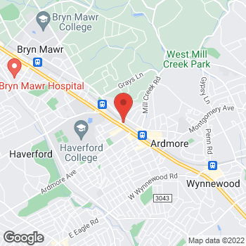 Map of Hair Cuttery at 19 Woodside Rd, Ardmore, PA 19003