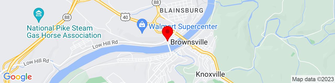 Google Map of 40.024166666666666, -79.89055555555557