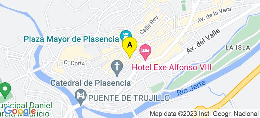 situacion en el mapa de . Direccion: Santa María, 12, 10600 Plasencia. Cáceres