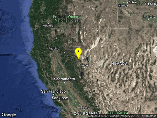 earthquake 30km SE of Janesville, California