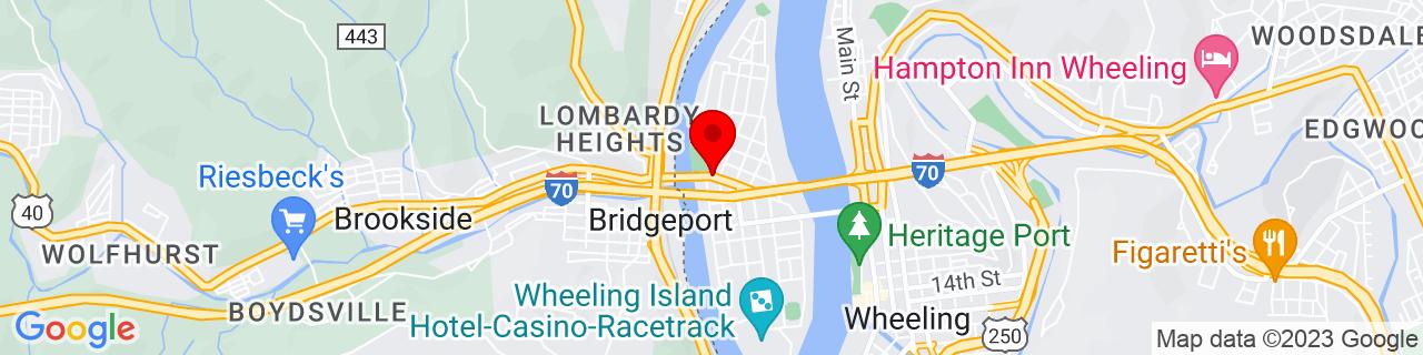 Google Map of 40.0723287, -80.7360502