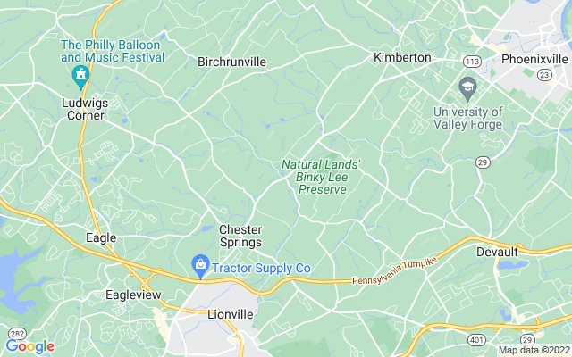 Chester springs on the map