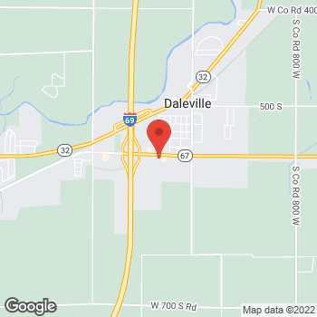 Map of Arby's at 8989 S Factory Shops Blvd, Daleville, IN 47334