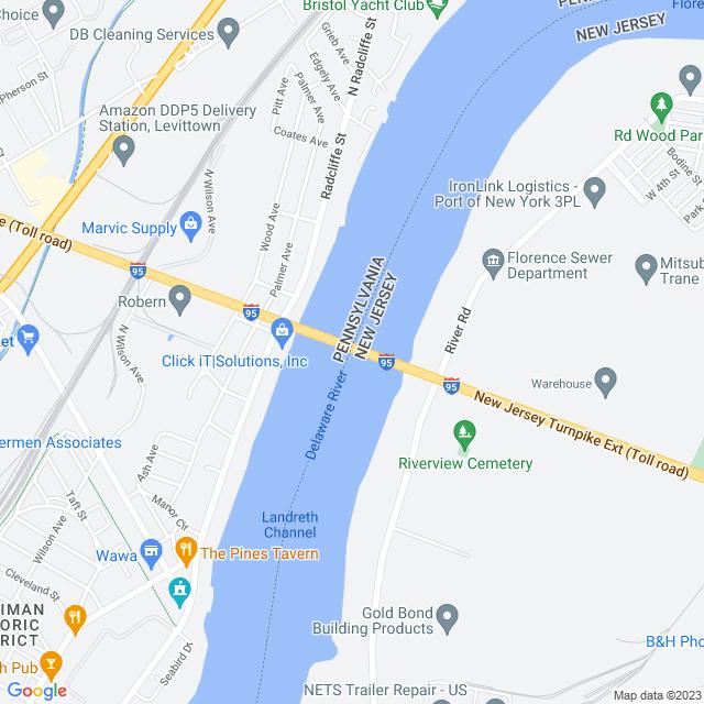 Map of Pennsylvania Turnpike Delaware River Bridge I-95