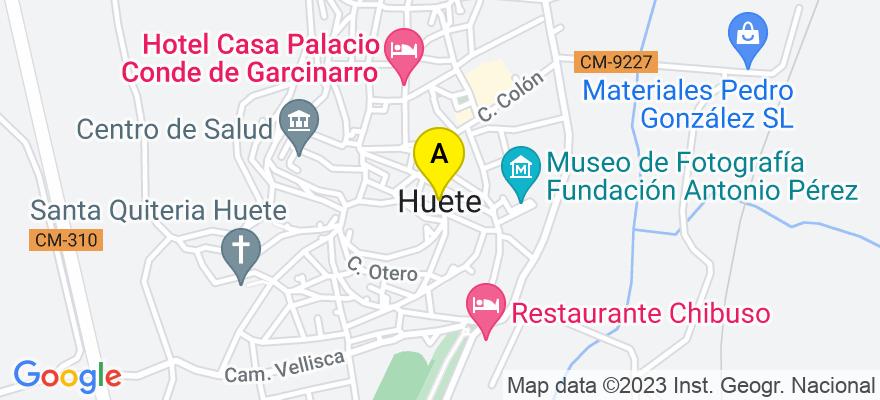 situacion en el mapa de . Direccion: C/ Mariano Pozo, nº 13, 16500 Huete. Cuenca