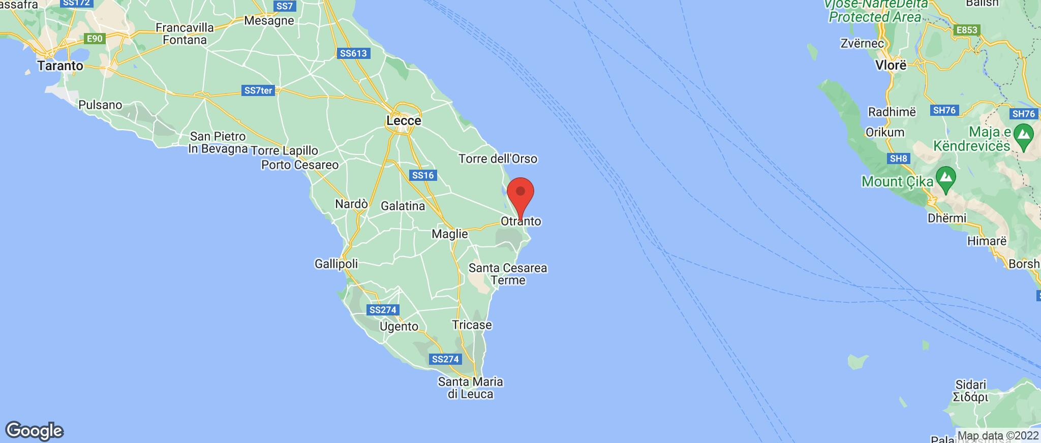 Map showing the location of Otranto