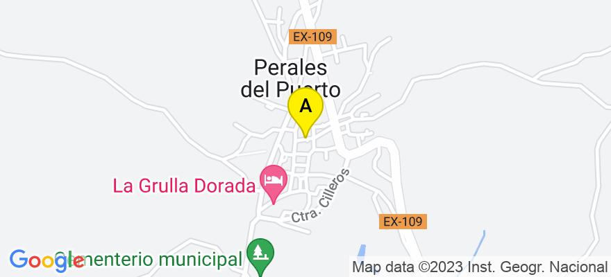 situacion en el mapa de . Direccion: Calle Carlos godinez 11, 10896 Perales del Puerto. Cáceres