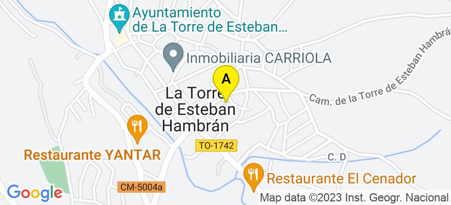 situacion en el mapa de . Direccion: Calle San Roque, 6, 45920 La Torre de Esteban Hambrán. Toledo