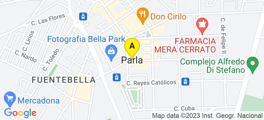 situacion en el mapa de . Direccion: C/ Real 23, 1ºA, 28981 Parla. Madrid