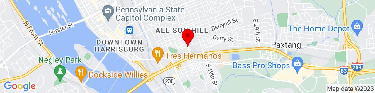 Google Map of 40.2585851, -76.86060959999999