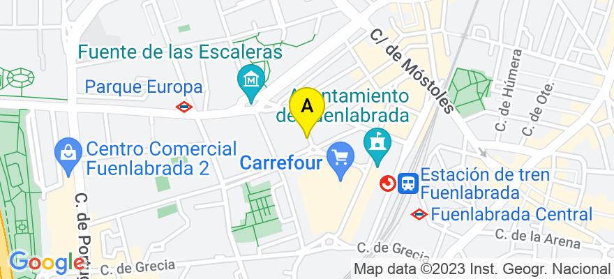 situacion en el mapa de . Direccion: San francisco Javier 1, 28943 Fuenlabrada. Madrid