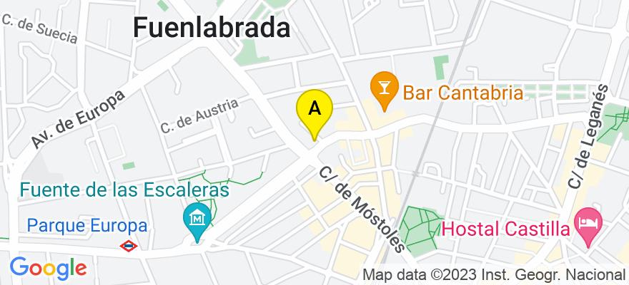 situacion en el mapa de . Direccion: Avenida de las regiones 14, esc b 1 c, 28941 Fuenlabrada. Madrid