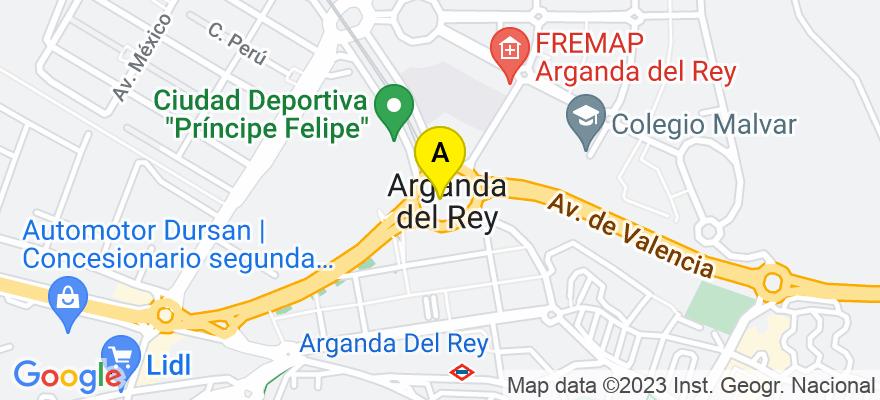 situacion en el mapa de . Direccion: av Ejercito 36 1ºB, 28500 Arganda del Rey. Madrid