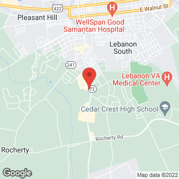 Map of Panera Bread at 1451 Quentin Road, Lebanon, PA 17042