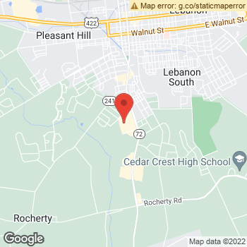 Map of Dr. Paul Montague at 1129 Quentin Road, Lebanon, PA 17042