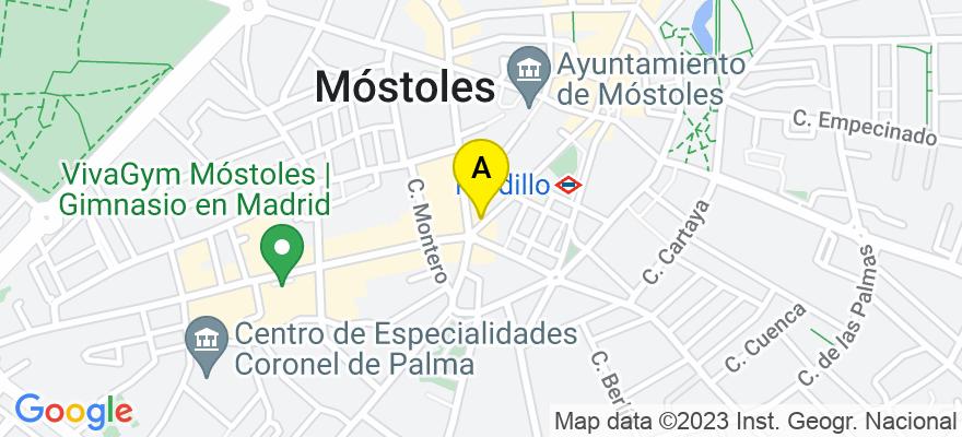 situacion en el mapa de . Direccion: avenida dos de mayo 18, 28934 Móstoles. Madrid